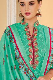 Faux Georgette Embroidered Salwar Suit in Turquoise