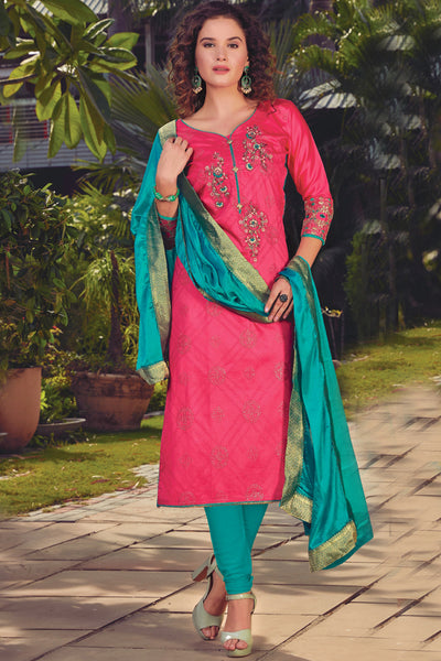 Art Silk Embroidered Dress Material in Pink
