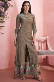 Rayon Embroidered Kurti Set in Beige