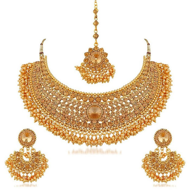 I Jewels Women's Alloy Necklace with Earrings and Maang Tikka in Gold