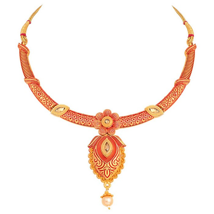 Alloy Choker Necklace Set with Earrings and Maang Tikka in Red