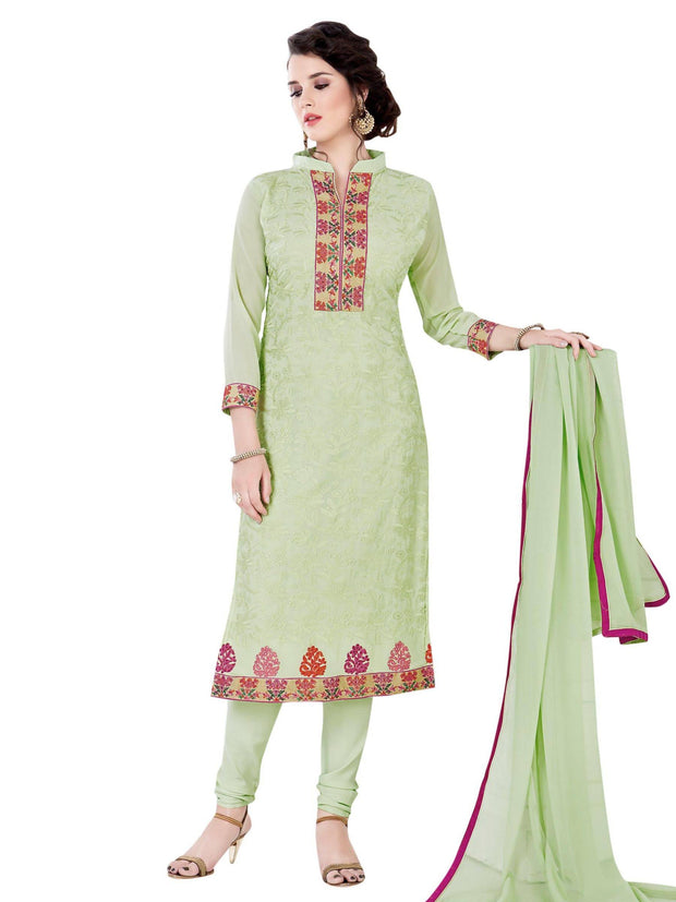 Stylee Lifestyle Women's Georgette Resham Embroidered Salwar Suit in Green