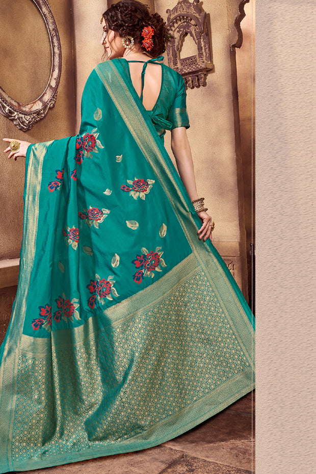 Art Silk Woven Saree in Dark Turquoise