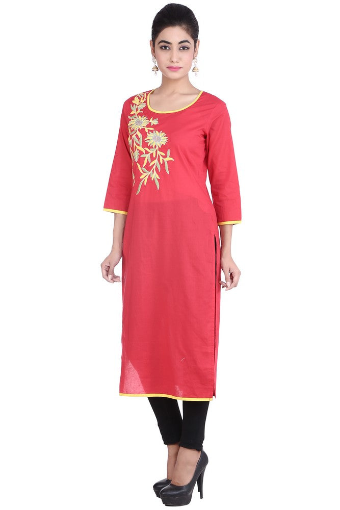 Cotton Embroidered Kurta in Red
