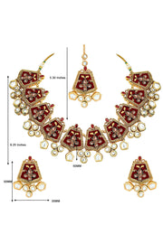 Alloy Necklace with Earrings and Maang Tikka in maroon