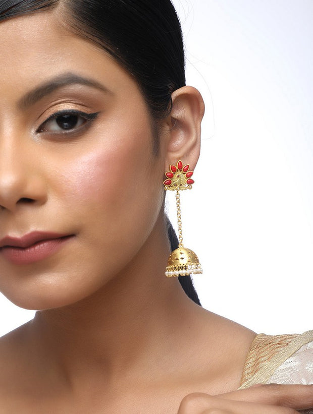 Alloy Jhumka Earrings in Pearl