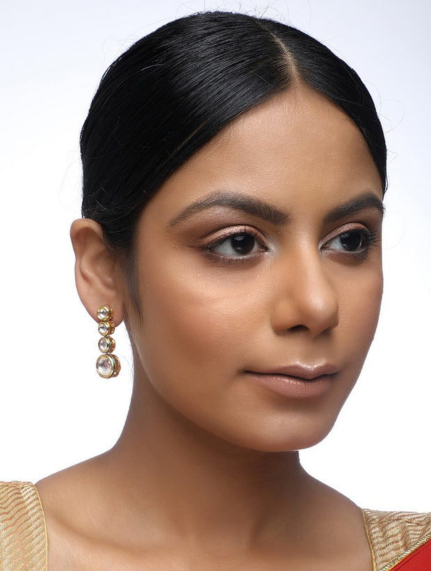 Women's Alloy Kundan Earrings in Gold
