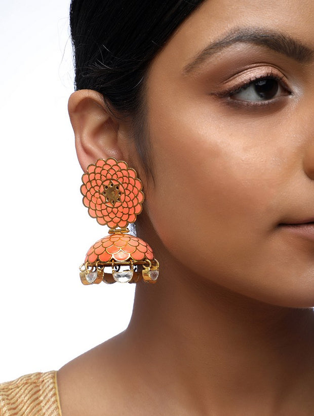 Alloy Jhumka Earrings in Gold