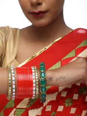 Ruby Raang Women's Alloy Chuda with Kundan and Heavy Meenakari Bangles in Red and Green