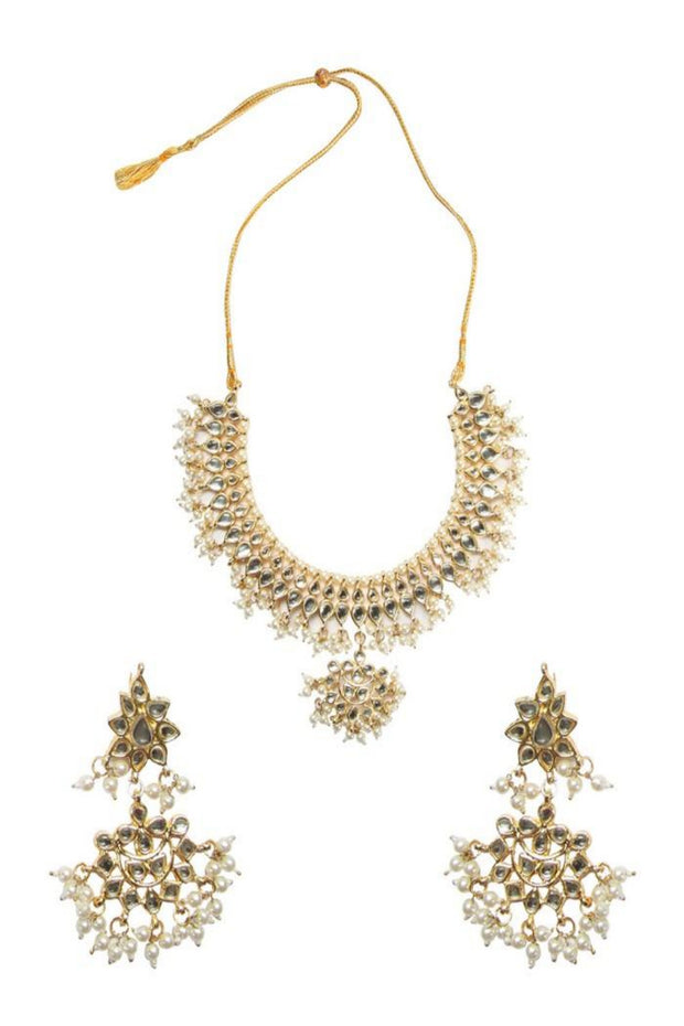 Women's Alloy Necklace With Earrings Set in Gold