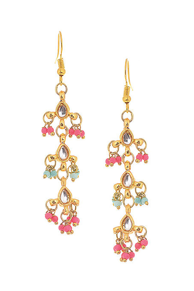 Ruby Raang Alloy Kundan Dangler Earring in Pink and Gold