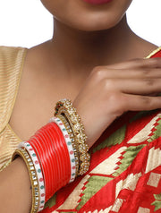 Ruby Raang Women's Alloy Chuda with Kundan and Heavy Meenakari Bangles in Red