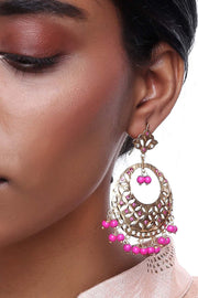 Alloy Large Dangle Earrings in Pink
