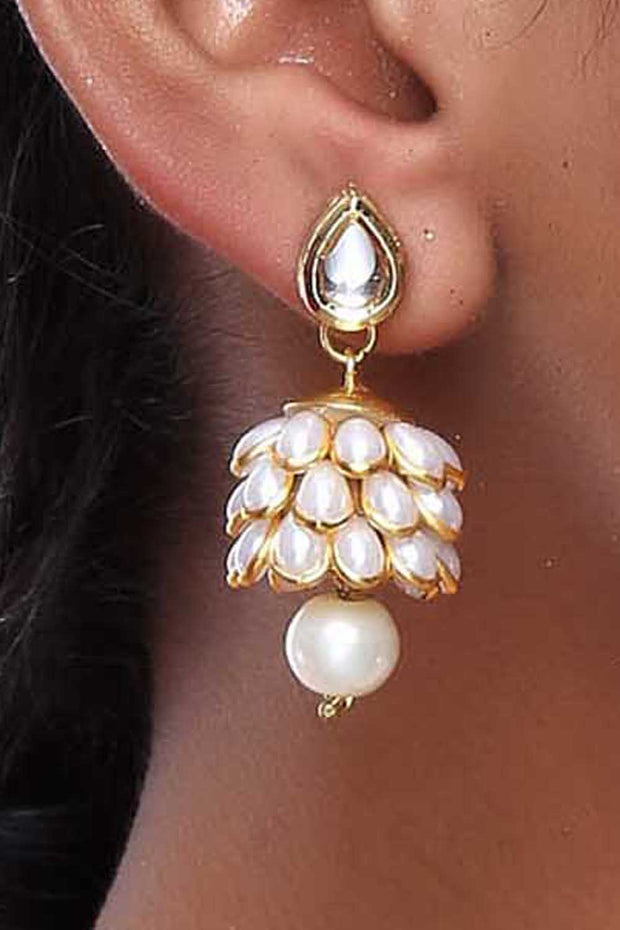 Alloy Large Dangle Earrings in White