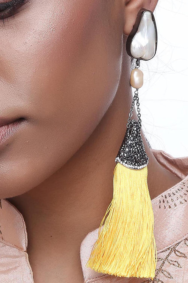 Alloy Large Dangle Earrings in Yellow