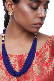 Alloy Necklace and Earring Sets in Blue