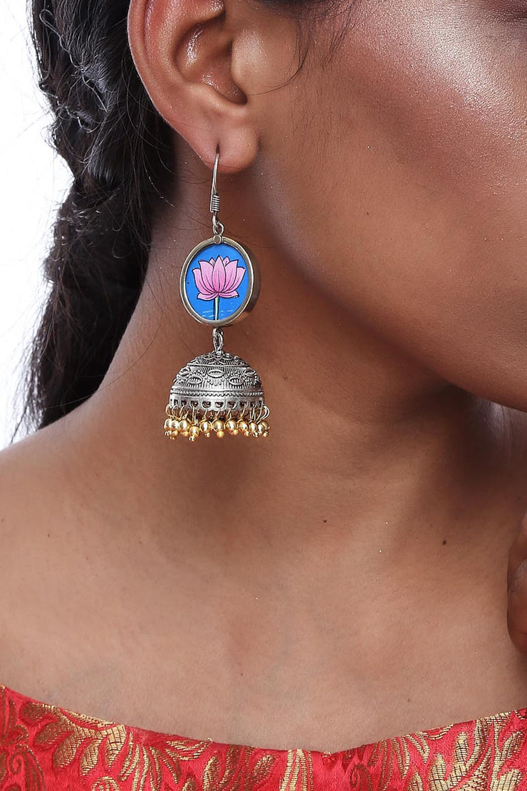 Alloy Jhumka Dangling Earrings in Multi
