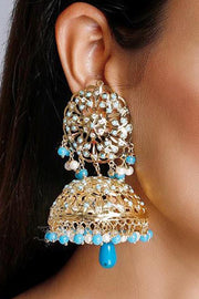 Women's Alloy Jhumka Earrings in Blue
