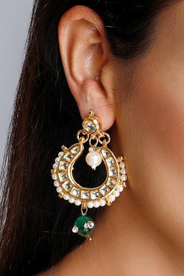Women's Alloy Drop Earrings in Green and White
