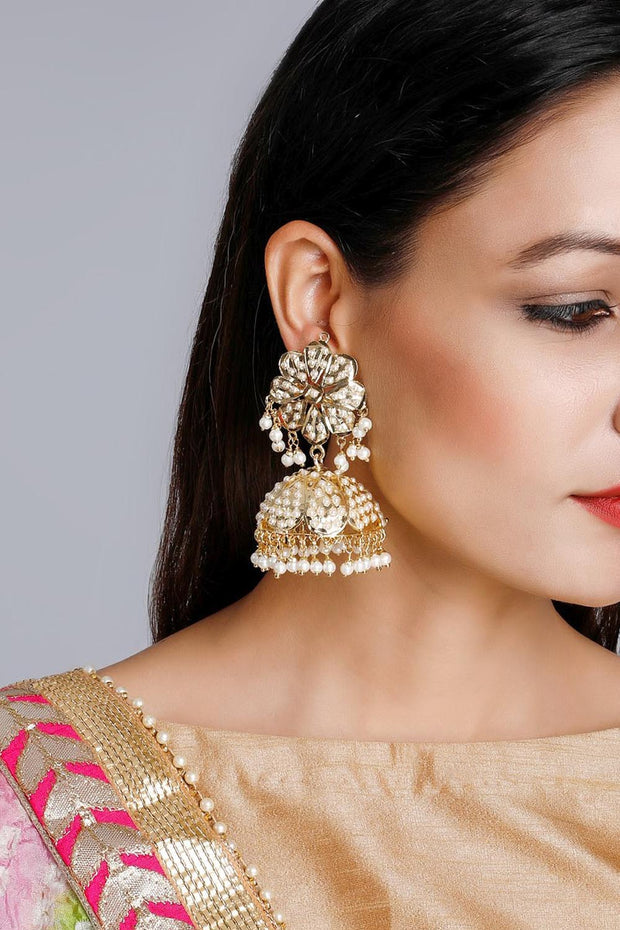 Women's Alloy Jhumka Earrings in White