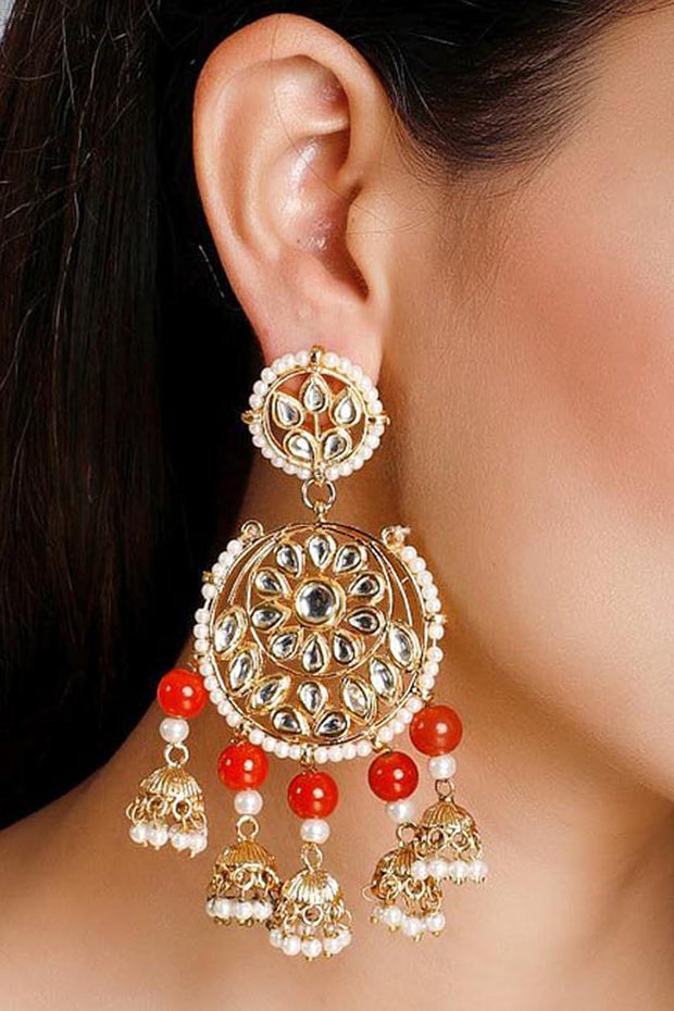 Women's Alloy Chandelier Earrings in Red and White