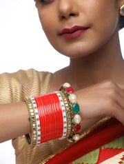 Ruby Raang Women's Alloy Chuda with Kundan and Heavy Meenakari Bangles