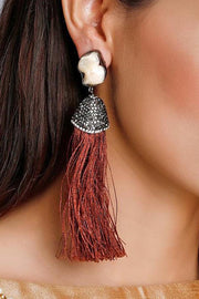 Women's Alloy Large Dangle Earrings in Brown