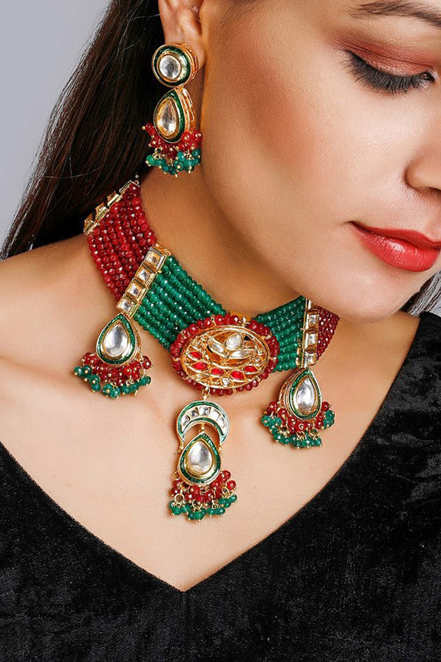 Women's Alloy Necklace and Earring Sets in Red and Green