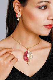 Women's Alloy Necklace and Earring Sets in Red