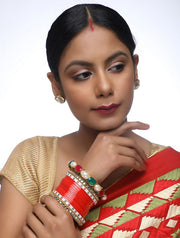 Women's Alloy Chuda with Kundan and Heavy Meenakari Bangles