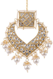 Women's Alloy Maang Tikka in Pearl