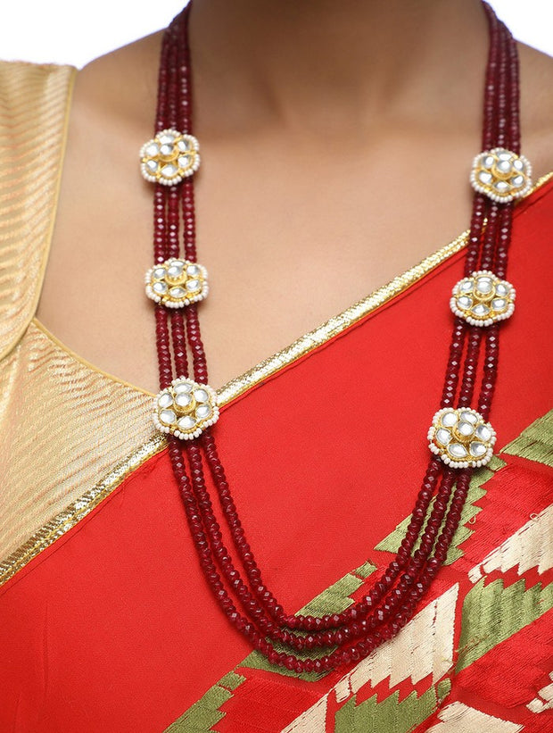 Women's Alloy Kundan Set in Maroon