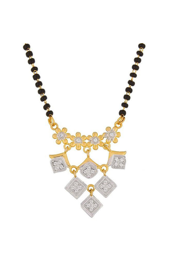 Women's Alloy Mangalsutra in White and Gold