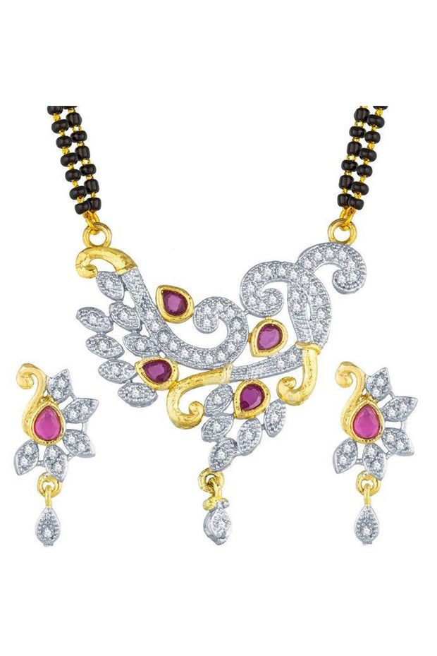 Buy Women's Alloy Mangalsutra in White and Pink Online