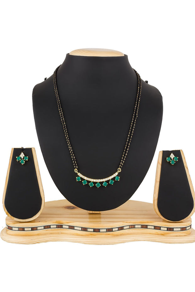 Women's Alloy Mangalsutra in Green