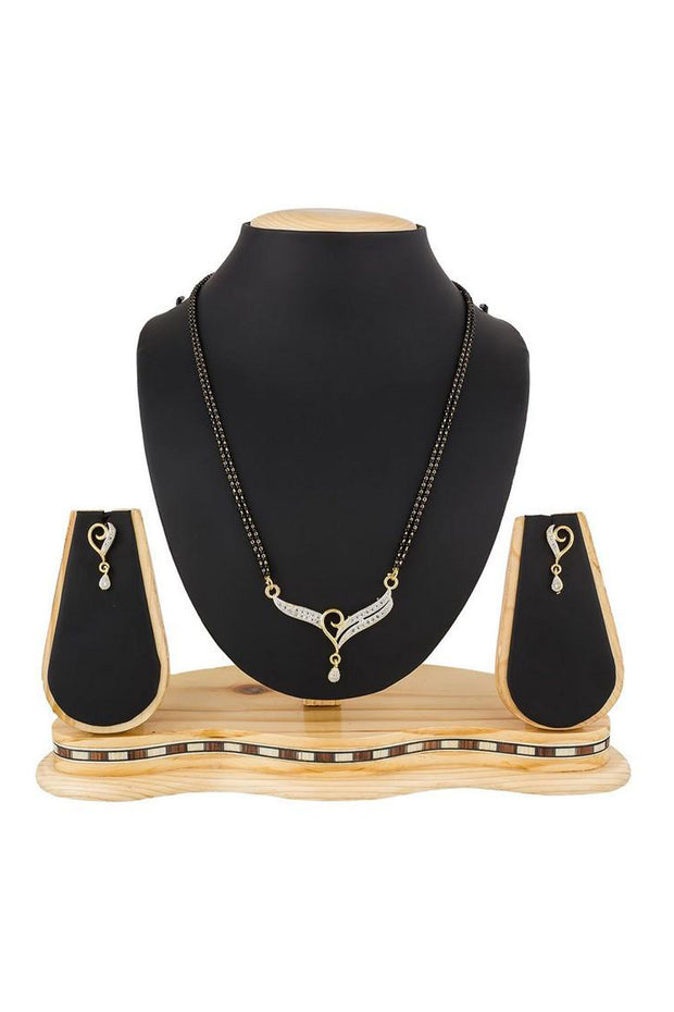 Women's Alloy Mangalsutra in White and Black