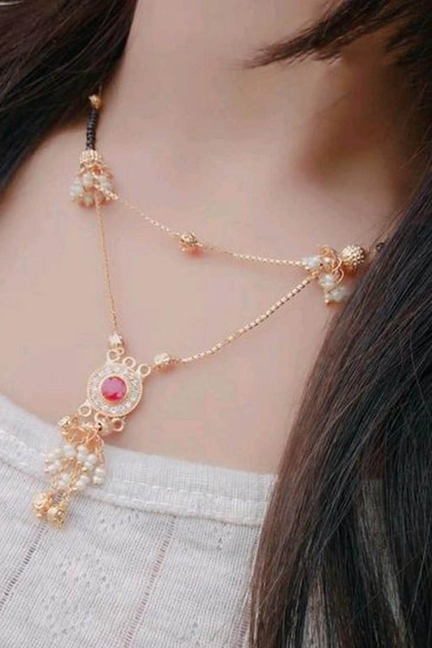 Women's Alloy Mangalsutra in Gold and Red