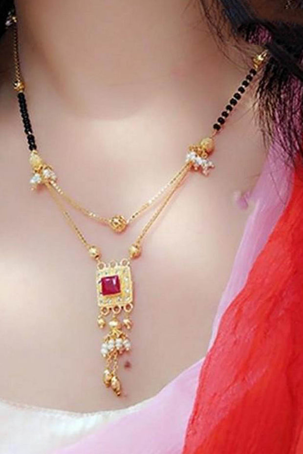 Buy Women's Alloy Mangalsutra in Gold and Red Online