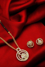 Buy Women's Alloy Mangalsutra and Earrings Set in Gold and White Online