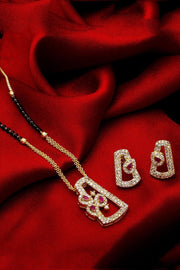 The Luxor Women's Alloy Mangalsutra and Earrings Set in White
