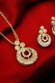 Women's Alloy Mangalsutra and Earrings Set in White