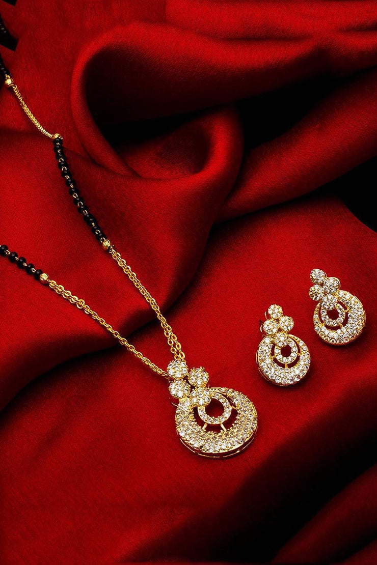 Buy  Women's Alloy Mangalsutra and Earrings Set in White Online