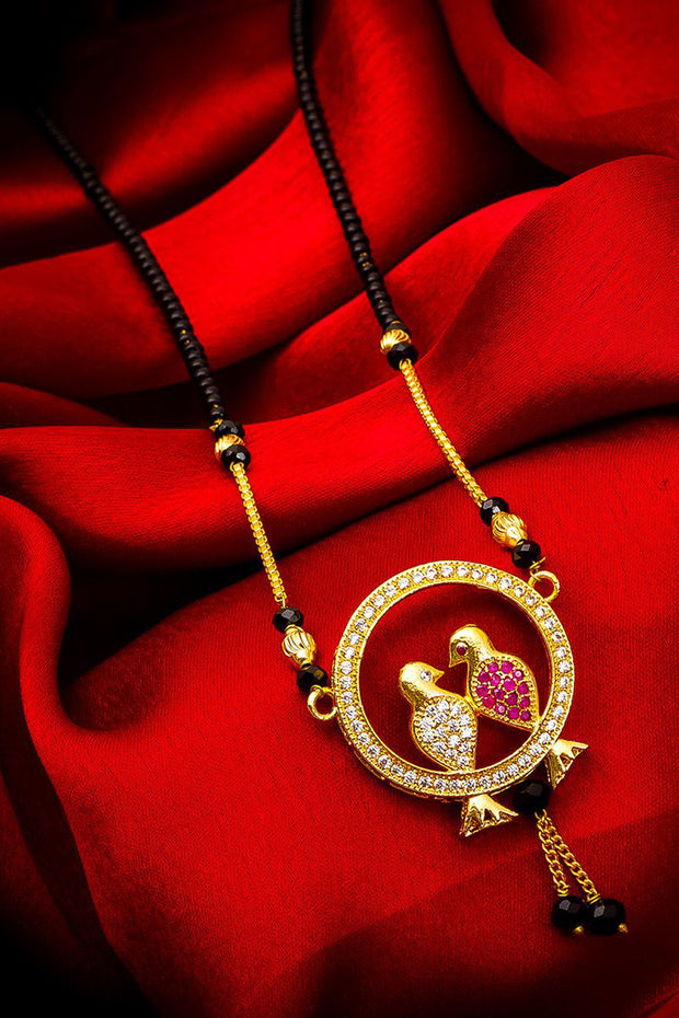 Women's Alloy Mangalsutra Set in Gold and Pink