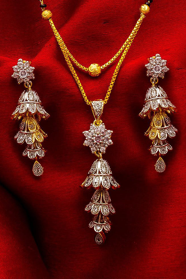 Women's Alloy Mangalsutra Set in Silver and Gold