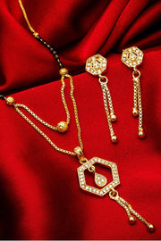 Shop Alloy Mangalsutra  For Women's  Set in Gold and Black At KarmaPlace