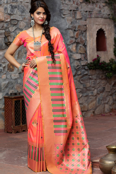 Buy Banarasi Art Silk Woven Saree In Rani Pink
