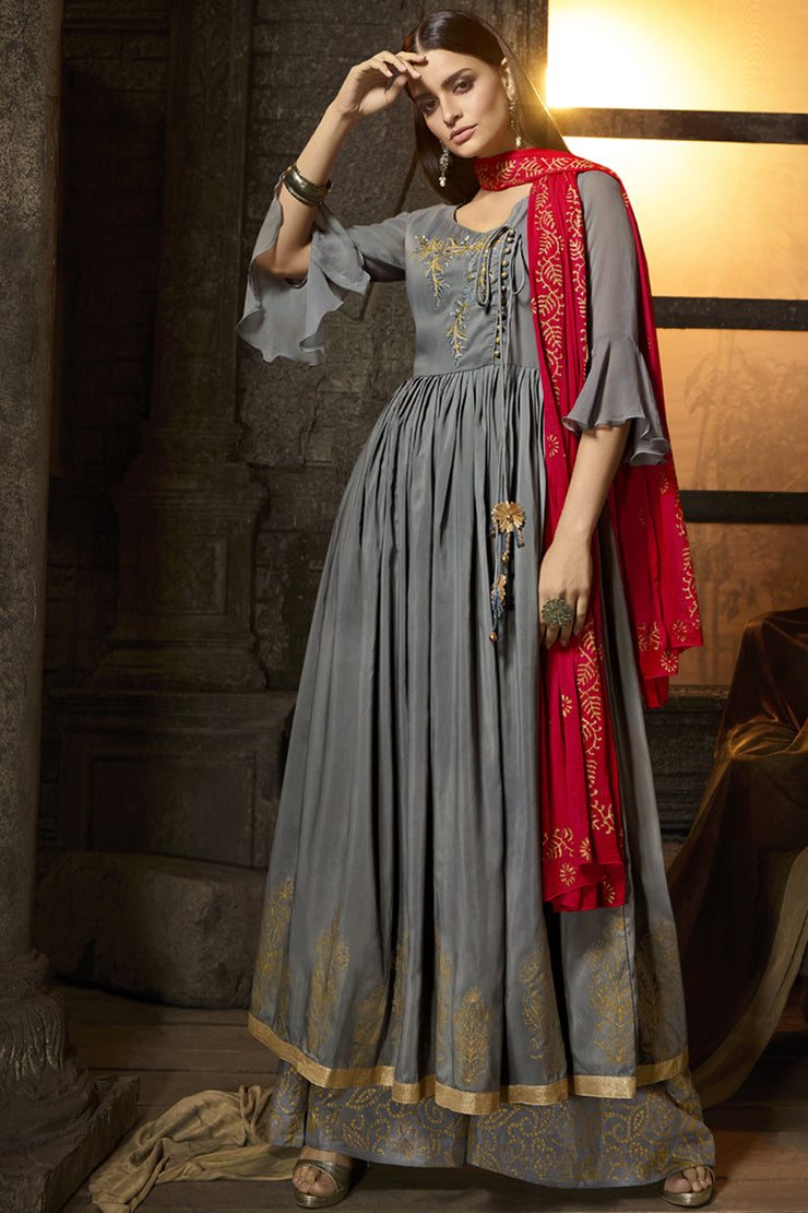 Faux Georgette Embroidered Dress Material in Grey