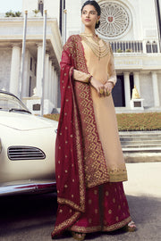 Faux Georgette Embroidered Dress Material in Beige