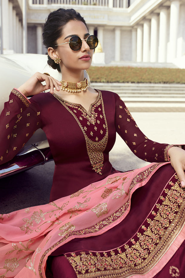 Faux Georgette Embroidered Dress Material in Maroon