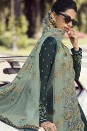 Faux Georgette Embroidered Dress Material in Aqua Green
